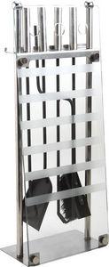 Aubry-Gaspard - valet de cheminée avec 4 accessoires en métal et v - Porta Attrezzi Per Camino