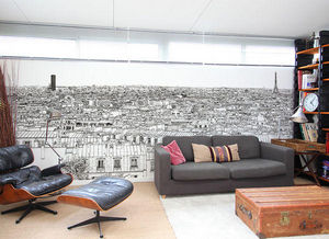 Ohmywall - papier peint vue de paris montparnasse tour eiffel - Carta Da Parati Panoramica