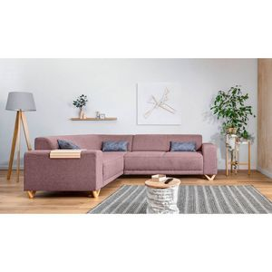 BOBOCHIC - canapé d'angle panoramique fixe bella rose poudré angle gauche - Divano Angolare