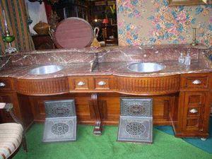 Antiquités FAUROUX - meuble de barbier - Specchio D'appoggio