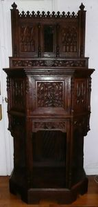 Antiquités LORMAYE - large gothic credence - Credenza