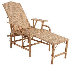 Aubry-Gaspard - chaise longue en manau et lame de rotin réglable e - Lettino Da Giardino