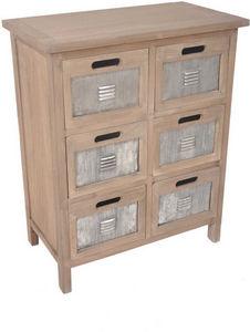 Aubry-Gaspard - commode industrielle 6 tiroirs en pin et métal 60x - Cassettiera