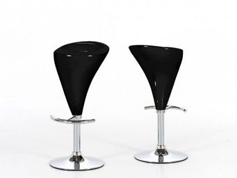 123 design - - 2 tabourets de bar design tube noir - noir - Sgabello Da Bar
