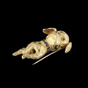 Expertissim - broche bouledogue anglais en or ornée de saphirs, - Spilla