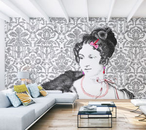 IN CREATION - mademoiselle classic noir sur blanc - Carta Da Parati Panoramica