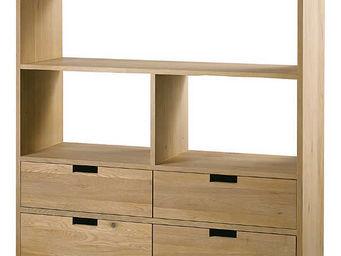 ZAGO - bibliothèque 4 niches 4 tiroirs upper en chêne mas - Libreria