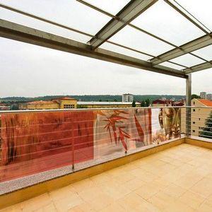 PRISMAFLEX international - brise-vue balcon imprimé buddha rouge 5m - Frangivista