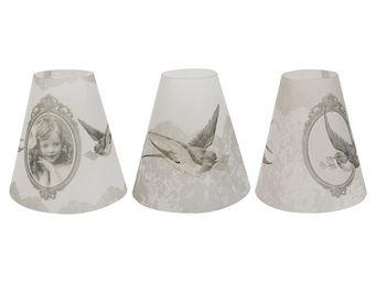 Mathilde M - 3 lampions coniques tendres pensées - Paralume