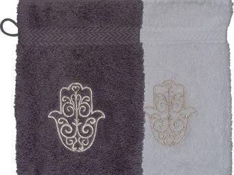 SIRETEX - SENSEI - gant eponge brodé main de fatma 550gr/m² coton - Guanto Da Bagno