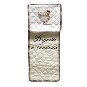 WHITE LABEL - sac à pain cocotte en coton texte brodé - Portapane