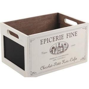 Aubry-Gaspard - caisse en bois épicerie fine avec ardoise - Cassettiera Sistematutto