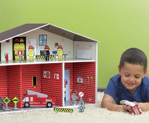 EXKLUSIVES FUR KIDS - station pompiers dylan en carton recyclé 78x20x47c - Casa Delle Bambole