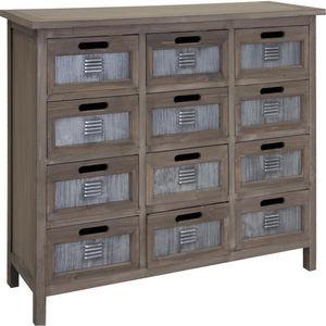 Aubry-Gaspard - commode 12 tiroirs en pin et métal 90x33x82cm - Cassettiera