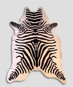 WHITE LABEL - tapis en peau de vache imp zebre - Pelle Di Mucca