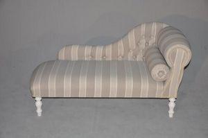 Demeure et Jardin - méridienne capitonnée rayée - Chaise Longue