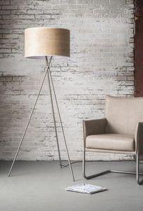 WHITE LABEL - lampadaire tick design acier avec un abat-jour cyl - Lampada Da Terra Treppiede
