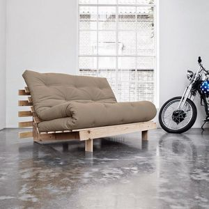WHITE LABEL - canapé bz style scandinave roots futon taupe couch - Divano Letto Con Apertura A Scorrimento