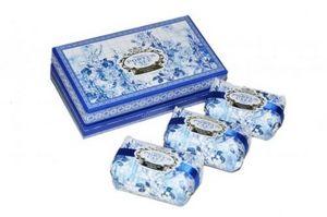 Demeure et Jardin - coffret de 3 savons toile de jouy bleue - Sapone