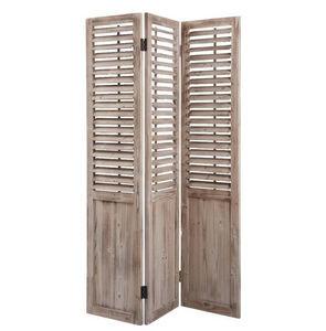 Aubry-Gaspard - paravent en bois vieilli 3 panneaux 129x3x182cm - Paravento Separé