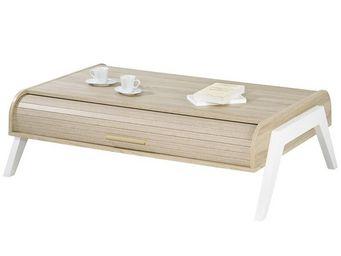 WHITE LABEL - table basse à rideau - arkos n°3 - l 119 x l 80 x - Tavolino Rettangolare