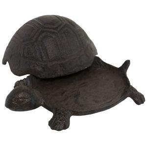 CHEMIN DE CAMPAGNE - statue sculpture tortue cache-clef clé en fonte de - Statuetta