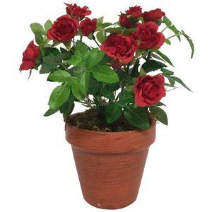 CHEMIN DE CAMPAGNE - grand rosier artificiel rouge 23 cm - Fiore Artificiale