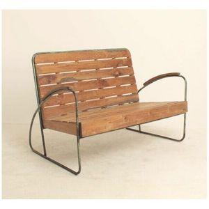 Mathi Design - banc vintage bois et metal - Panca