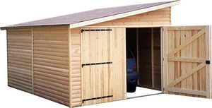 Cihb - garage en bois avec porte double kompact 6 m - Casetta Da Giardino