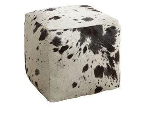 Aubry-Gaspard - pouf cube en peau de vache - Pouf