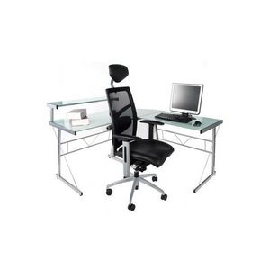 KOKOON DESIGN - bureau d'angle verre teinté blanc - Mobile Pc