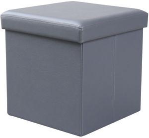 COMFORIUM - pouf de rangement simili cuir coloris gris foncé - Pouf