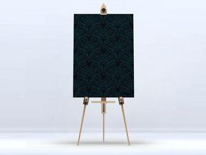 la Magie dans l'Image - toile plumes de paon noire - Stampa Digitale Su Tela
