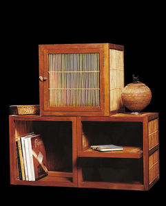 Matahati - cube simple en teck et bambou - Armadio Con Ante A Battente